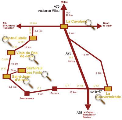 La carte du Circuit des Templiers